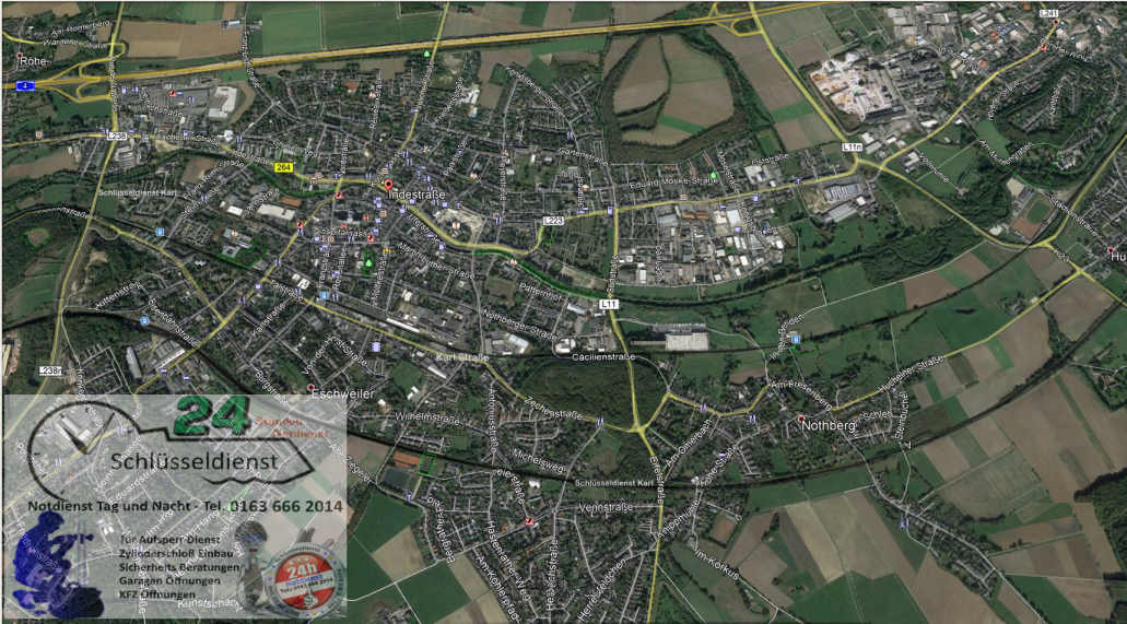 Schlüsseldienst Eschweiler Übersicht Karte Stadt Eschweiler - Notdienst Gebiet Tür Öffnungs Dienst Karl