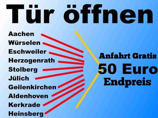 Schlüsseldienst Aachen Würselen Herzogenrath sowie Schlüsseldienst Eschweiler Stolberg Alsdorf zum 50 Euro Schlüsselnotdienst Endpreis